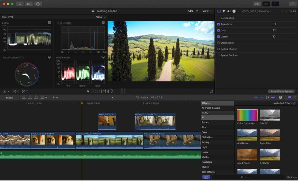 Interfaz de Final Cut Pro