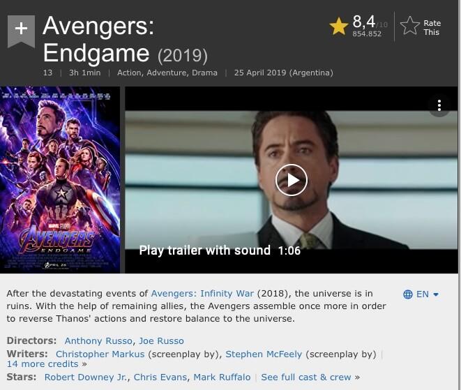 Interfaz de IMDB