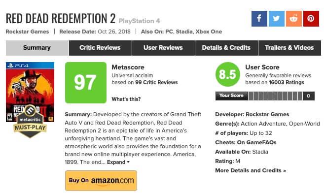 Interfaz de Metacritic