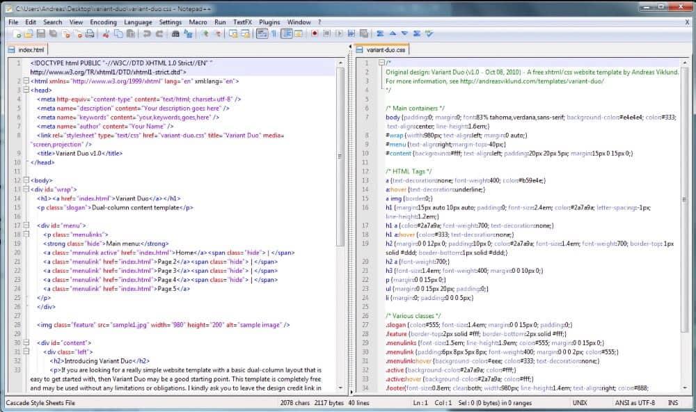 Interfaz de Notepad++