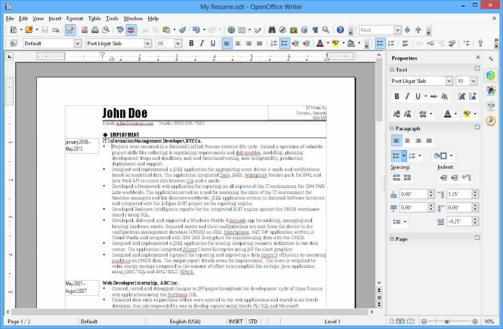 Interfaz de OpennOffice