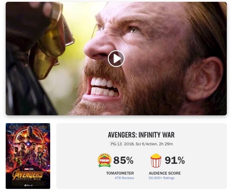 Interfaz de Rotten Tomatoes