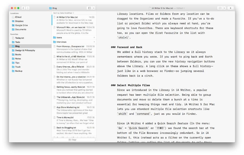 Interfaz de iA Writer